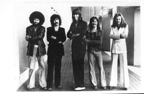 "Members of the band ""Boston,"" from left, Sib Hashian, Brad Delp, Tom Scholz, Barry Goudreau, and Fran Sheehan i n 1977."